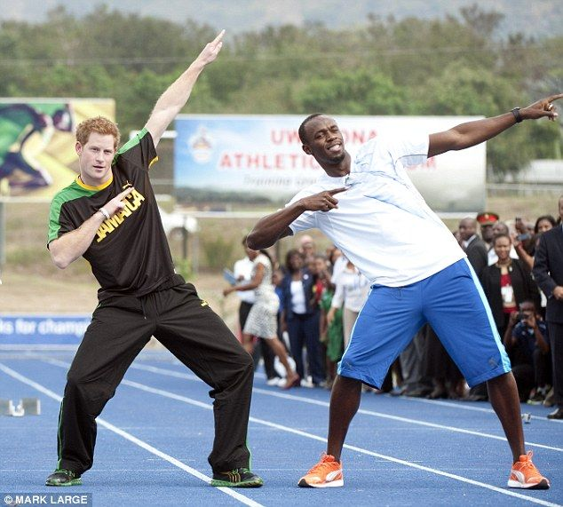 Prince Harry joined sprinter Usain Bolt in a 'lightning bolt' victory salute on his last t...