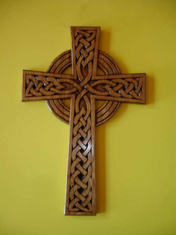 celtic wood carving | Celtic Sun Cross made of wood by hand carving by creativemind44