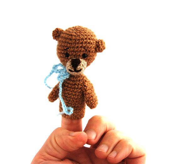 $21.62  bear finger puppet, #crochet #teddy, #imaginative #play, #storytelling, #bear #action #figure, #amigurumi #bear #toy, #soft #toy for #boys