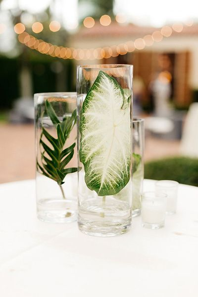 simple palm centerpiece | Elaine Palladino