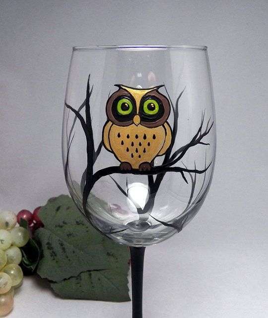 Golden Owl Wine Glass, Hand Painted Dishwasher Safe Owl Wine Glass, 2 sizes