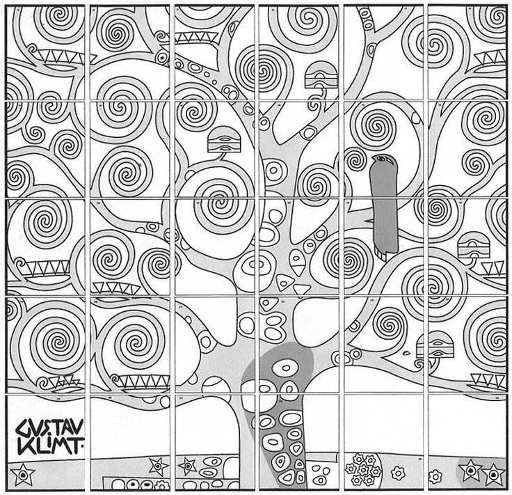 Autour d'un travail sur Klimt. Chaque élève a un morceau du puzzle voire deux. Il le reproduise sur un carré plus grand. On assemble le tout et on voit ce que ça donne. Puis on découvre l'oeuvre de...