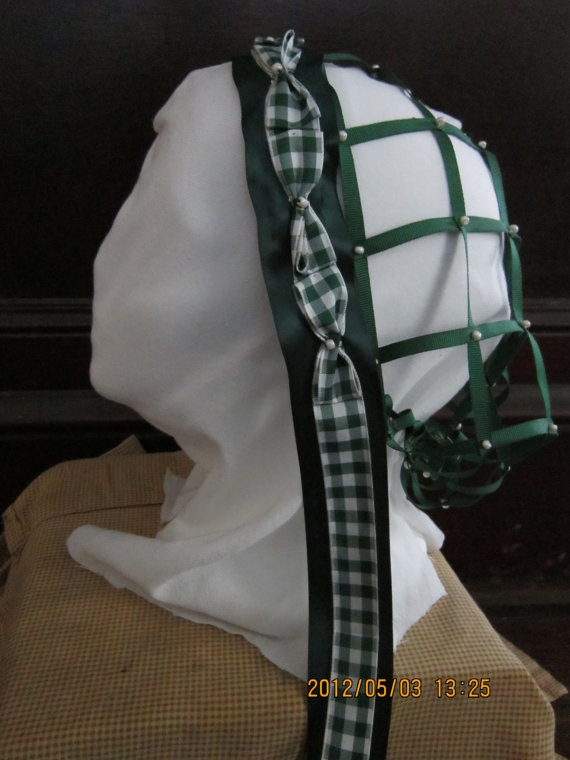 Civil War Era Ribbon Hair Net or Headdress  by amykirkpatrick1, $40.00