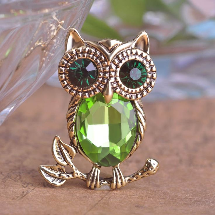 Gorgeous Fashion Crystal Alloy AntiGold Plated Owl Jewelry Collar Brooch Korean Fashion Accessories Girl Birthday Gift Broche