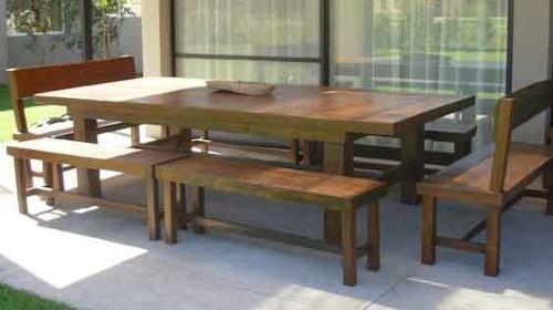 mesas para quinchos y galerias fabricadas en quebracho