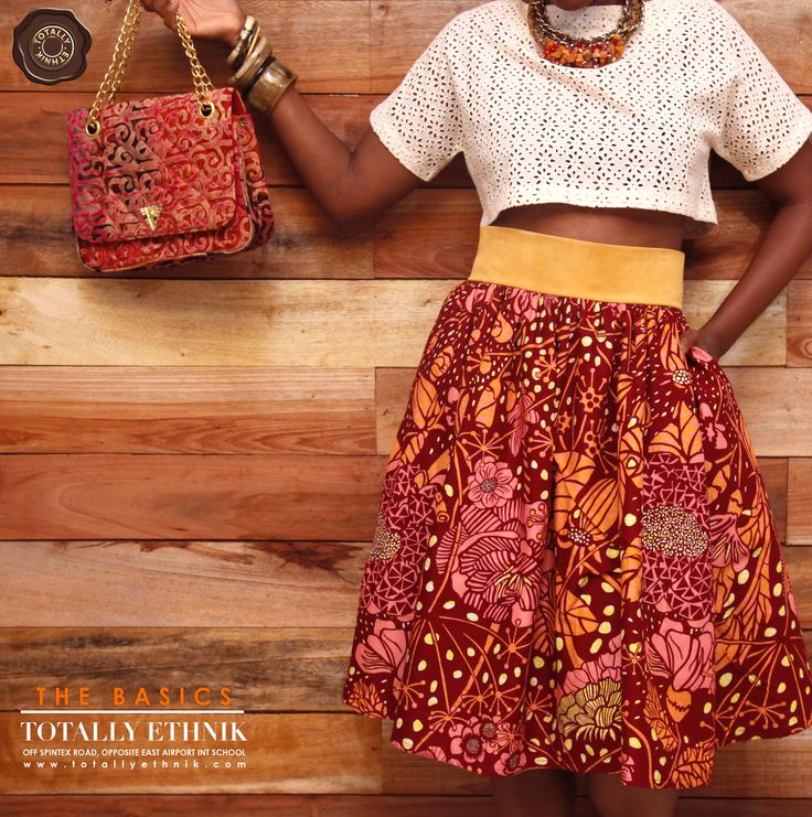 Totally Ethnik Summer Collection Ensemble, with Sophisticated Eyelet Cropped Top and African Print Skirt with Suede belt