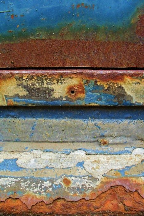 "Rusty metal that's landscape inspiration for ceramic artist Charlotte Hupfield | ""I see a rocky landscape with low clouds, merging into a deep sky and sunset."" Do you see it, too?"
