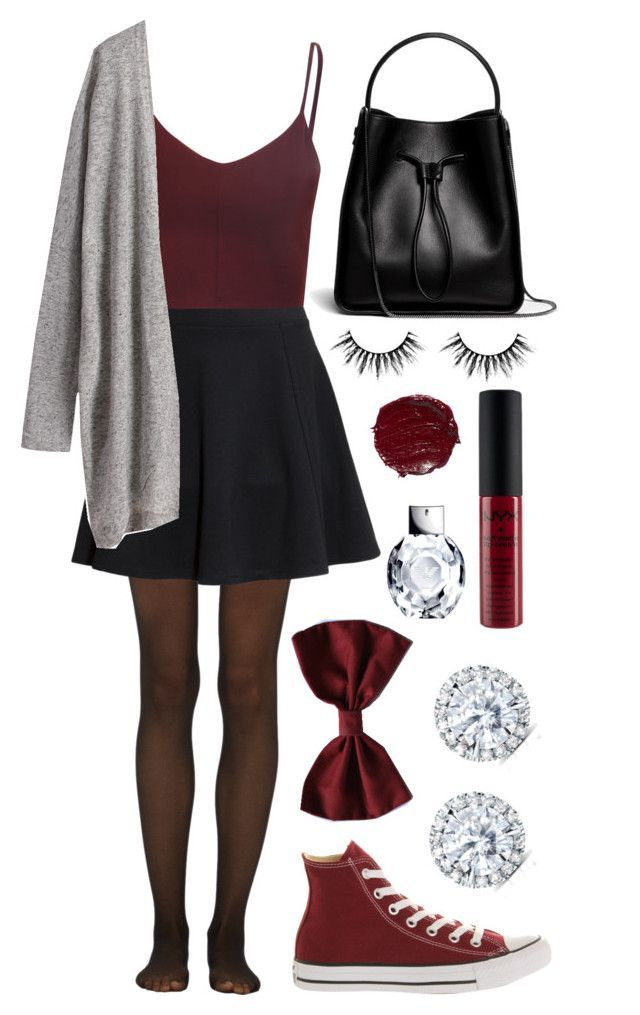 """Maroon & Skater Skirt"" by abby-holboy on Polyvore featuring Fogal, H&M, Glamorous, Converse, 3.1 Phillip Lim and Kobelli"