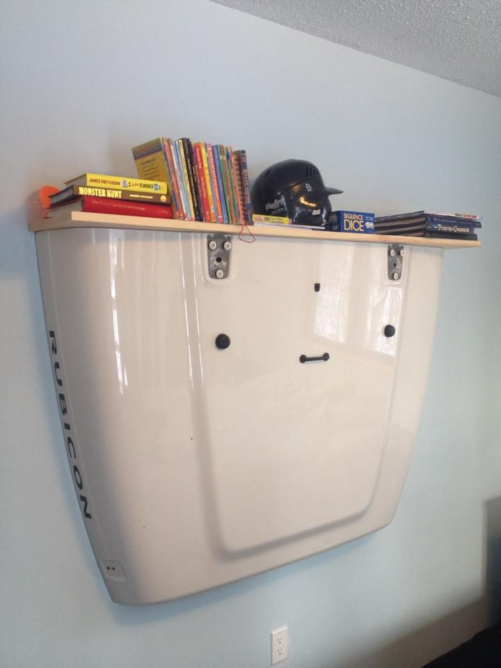 FanScape Angela Kellogg Simple shelf from dads old jeep hood!