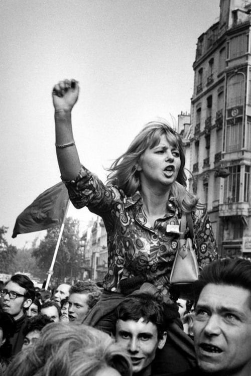 "Paris, May 1968.    Photo by Marc Riboud ""Celle de 36 à 68 chandelles... Ma France"""