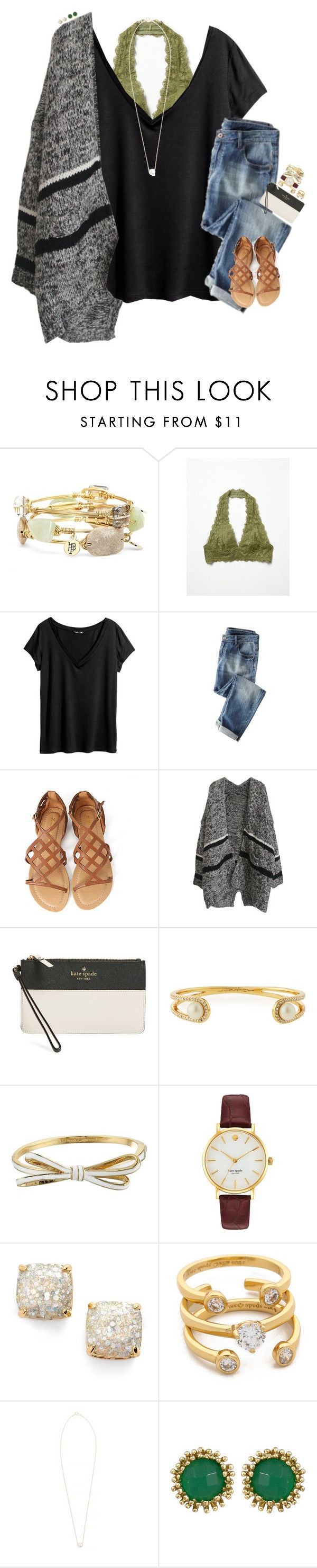 """""""Taking Maggie And Penelope Shopping With Rowan"""" by cfc-prep-sc ❤ liked on Polyvore featuring Bourbon and Boweties, Free People, H&M, Wrap, Kate Spade, Dogeared, Kendra Scott, women's clothing, women's fashion and women"""