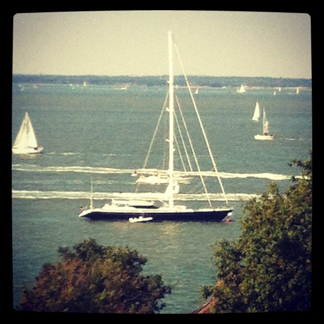 The view from our hotel in Cowes before the Super yacht cup regatta