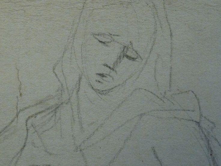AVELLINO Anofrio - Le Christ mort soutenu par la Vierge et un Ange - drawing - Détail 03 - Vierge de douleur - Virgin in pain -