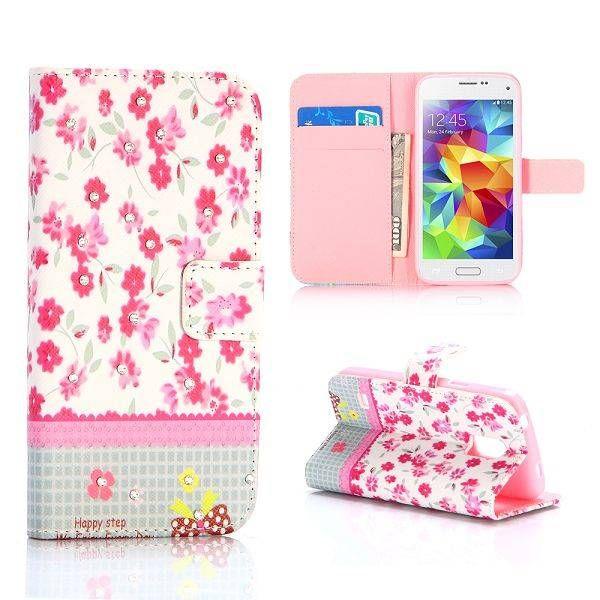 Roze bloemen 3-in-1 hoesje voor Samsung Galaxy S5 mini