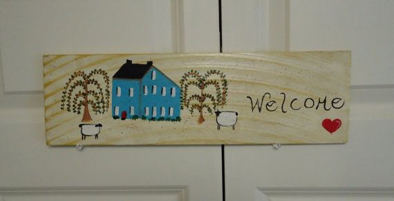 Welcome sign PRIMITIVE HOUSE welcome sign by ThePaintedBeach