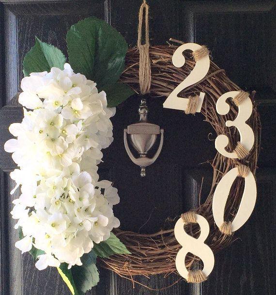 Adorable custom address grapevine door wreath by AlexaRoseBoutique