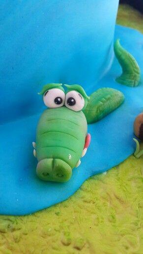 Crocodile cake topper for a jungle themed cake