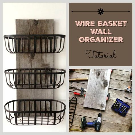 Rustic wood and wire baskets organizer. I made this for my kitchen, and it now holds all our dishtowels and handtowels. Easy and cheap country farmhouse decor DIY
