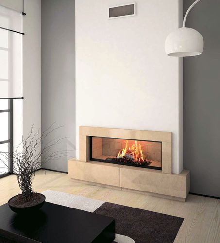 Wood fireplace / contemporary / closed hearth / built-in CASSANDRE  Axis