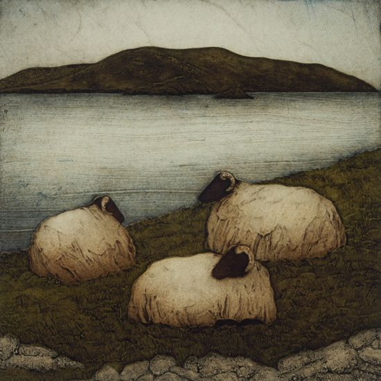Island Sheep and Mt. Eagle by Kathleen Buchanan - Collagraph