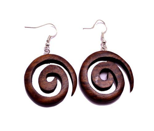 A Pair of Organic Boho Hippie Spiral Danglers Wooden Wood Earrings Sew_806 Krishna Mart India http://www.amazon.com/dp/B00IQ829DO/ref=cm_sw_r_pi_dp_dS.xwb1WDHYJQ