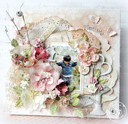 Mixed Media canvas by Maiko Kosugi for Prima! www.prima.typepad.com #prima #canvas #mixedmedia