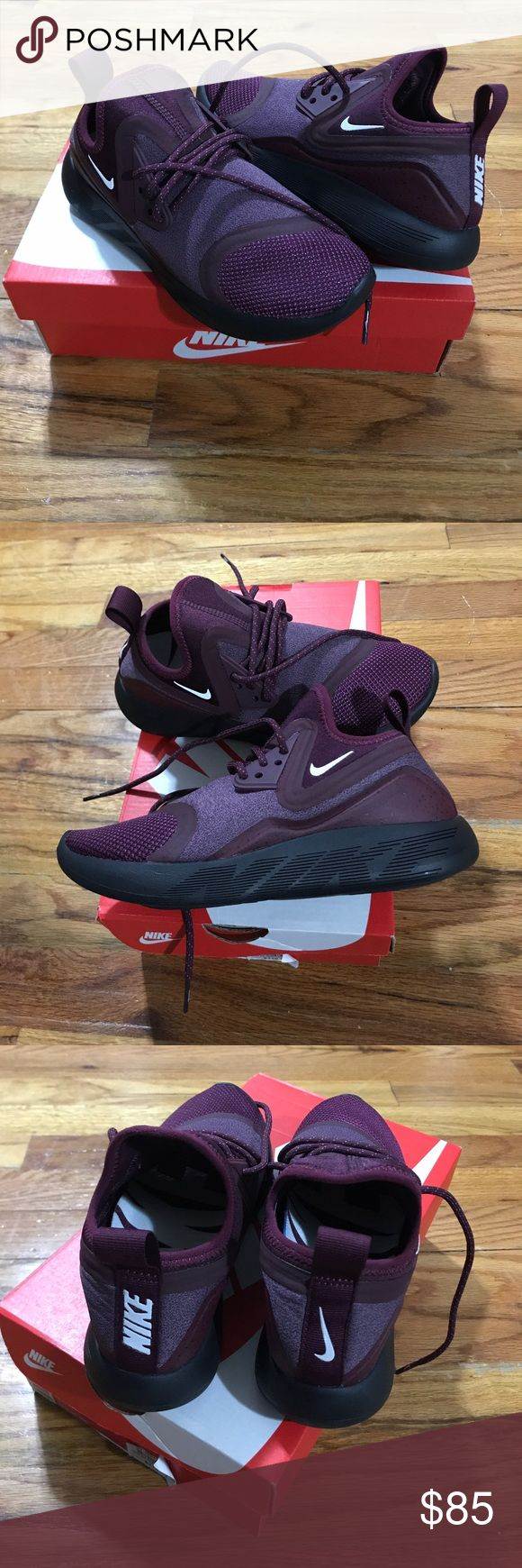 NIKE LUNARCHARGE ESSENTIAL SHOES 5.5 US The condition is brand new, never worn. Color night maroon/ violet dust (more like burgundy). Cushioned rubber outsole. My shoe size is 5.5 but these run small. These feel more like a size 5! Nike Shoes Sneakers