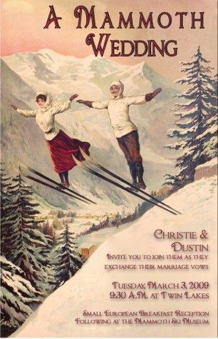 19th century Vintage Chamonix ski poster wedding invitation