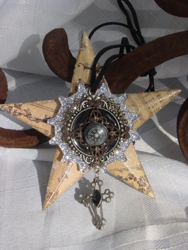 Altered Art, Steampunk Style Assemblage Christmas Ornament. $15.00, via Etsy.