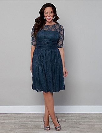 If you love our Smitten Lace Top then you will just adore our Luna Lace Dress! With the same amazing lace and mesh backing to hide nude bra straps; this dress ups the ante in feminine style. The ruched torso hides tummy troubles and a slightly full A-line skirt will give you a fabulous hourglass-like shape. lanebryant.com