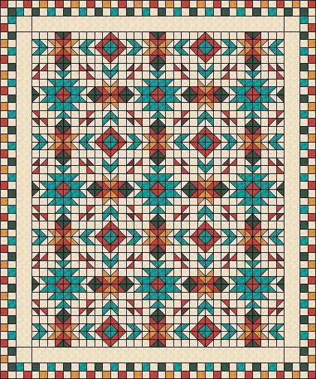 "Southwest inspired Quilt Pattern - Full size: 80"" x 96"" Uses only squares and half-square-triangles"