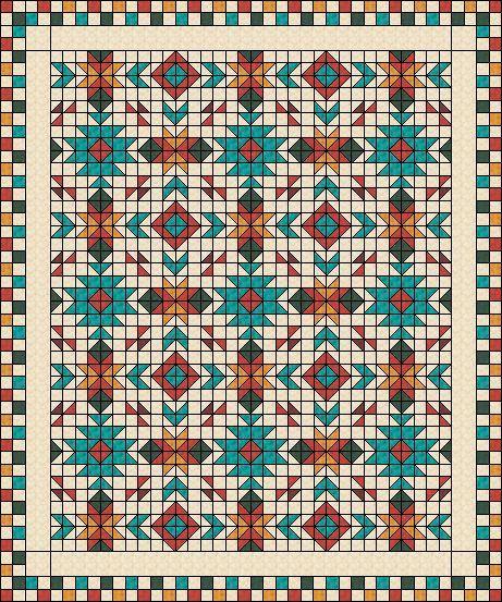 "Southwest Quilt Pattern - Southwest quilt - Nativ American quilt - Full size: 80"" x 96"""