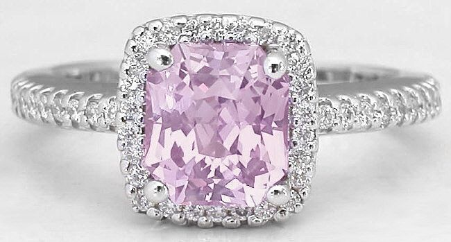 Calling all the ladies who love the light baby pink color in sapphire.... This ring is just stunning with a rare radiant cut light pink sapphire 1.77 carats in size. Only at MyJewelrySource (item GR-5767).