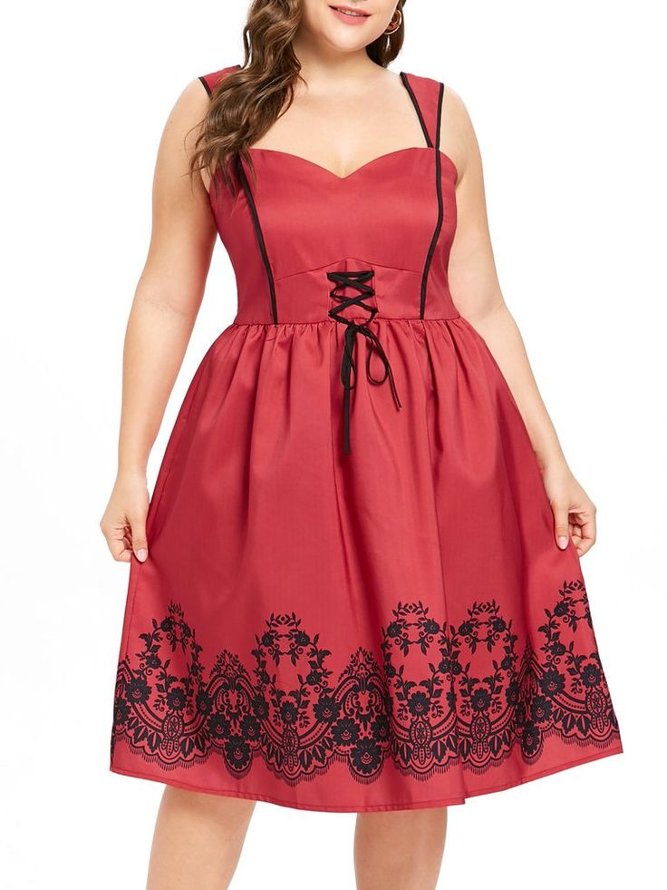 Red 1950s Floral Plus Size Dress