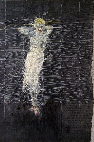 'works on paper #19' (2010) by Dutch artist Hinke Schreuders. yarn and ink on paper on canvas. via the artist's site