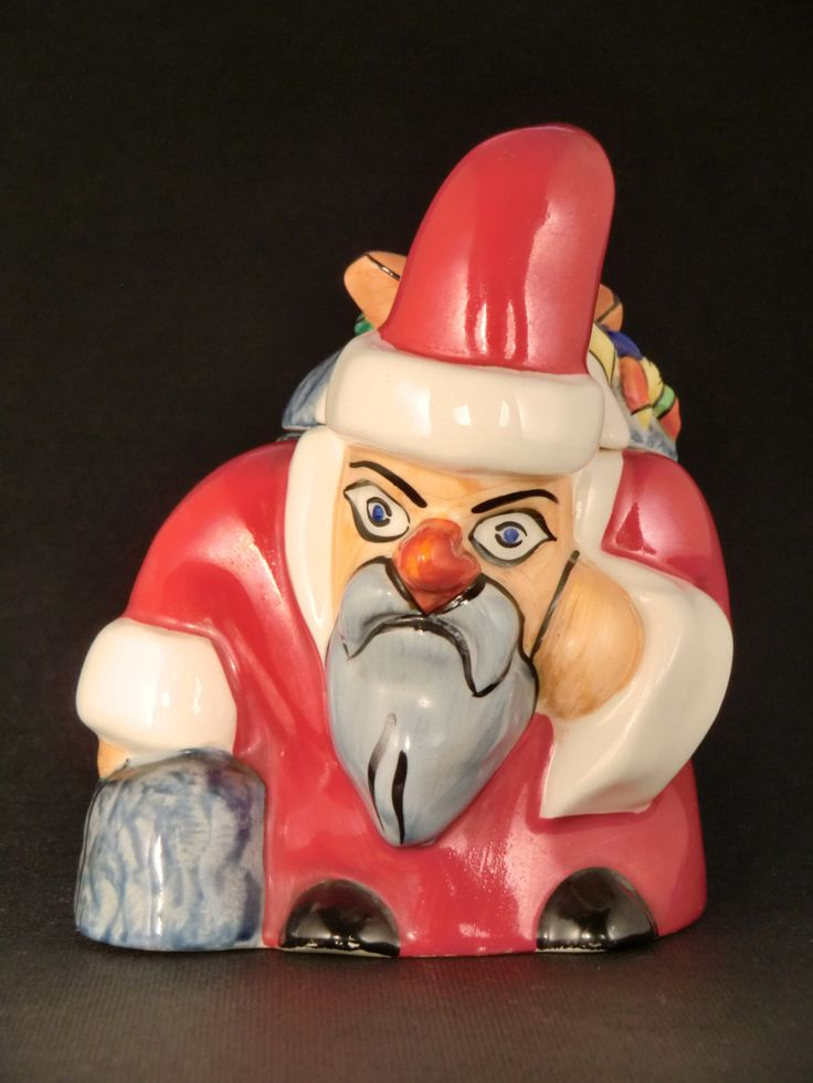 Ditmar Urbach Czechoslovak Pottery Bowl/Dose Santa Claus with a bags of gifts by VintageRetroEu on Etsy