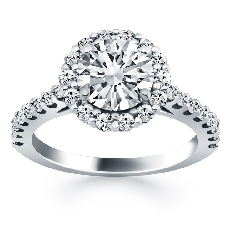 Get 14K White Gold Cathedral Engagement Ring  Micro Prong Diamond Halo