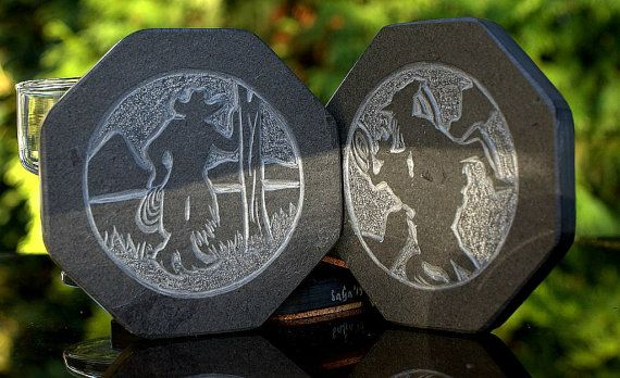 Black Slate Stone coaster set #silhouette design hand by #SAGaStone