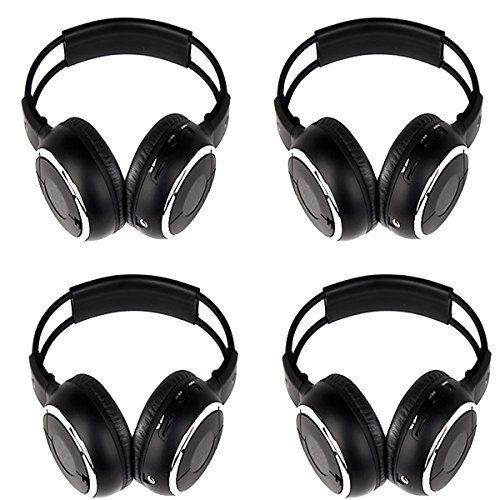 Ouku 4 PCS of Two Channel Foldable Universal Rear Entertainment System Infrared Headphones Wireless IR DVD Player Hedrest Monitor Roof Mount Head Phones for in Car TV Video Audio Stereo ** You can get additional details at the image link.
