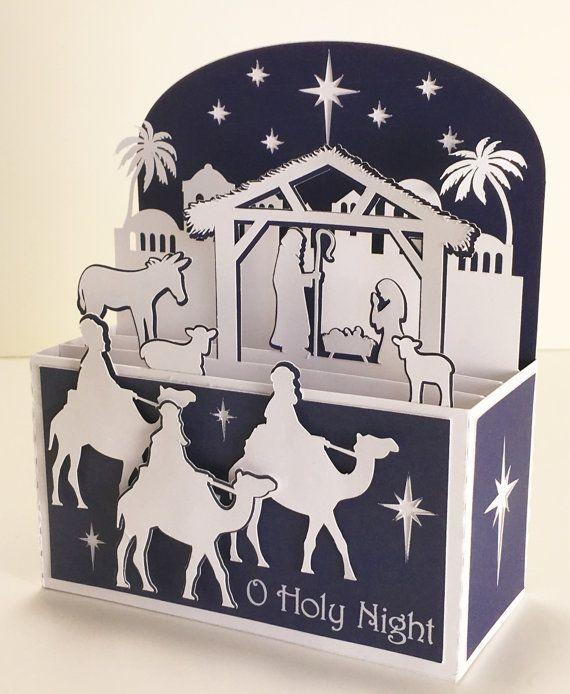 Carte de Noël Nativité dans un SVG 3D Box par MyCasualWhimsy