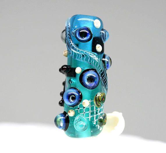 Blue Green Lampwork bead Blue Green glass Starfish pendant
