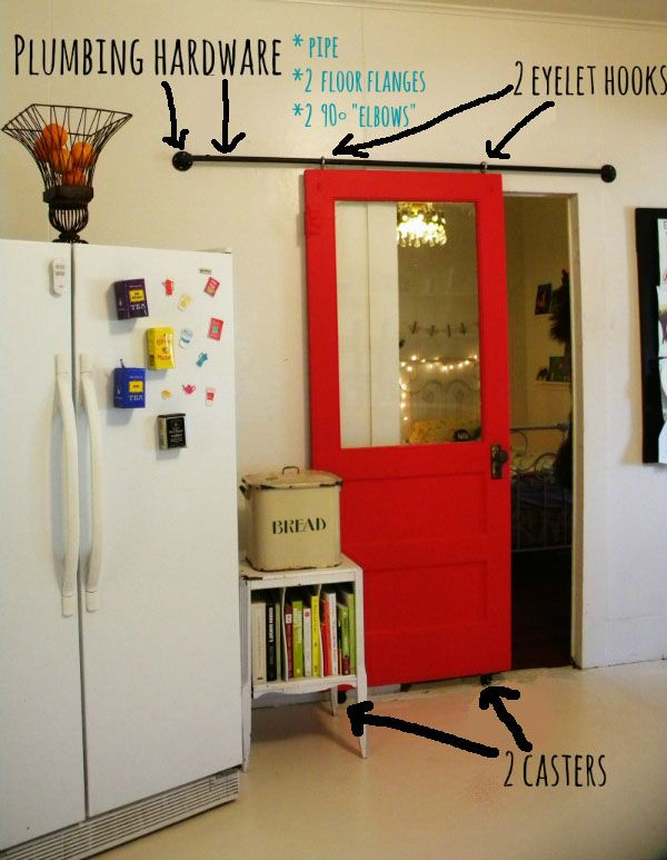 homemade barn door hardware - NOT these colors, but cool hardware tips