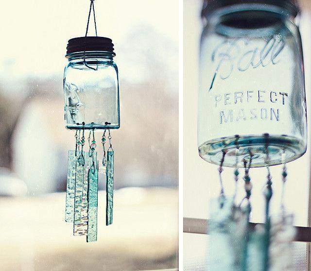Mason jar wind chimes ♥