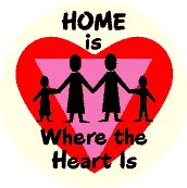 Home is Where the Heart is - Heart with Pink Triangle--Gay Pride Rainbow Store BUTTON