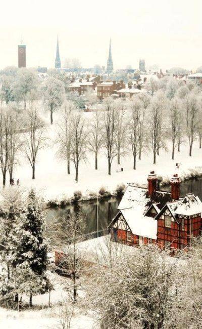 Snow covered Shrewsbury, Shropshire, England
