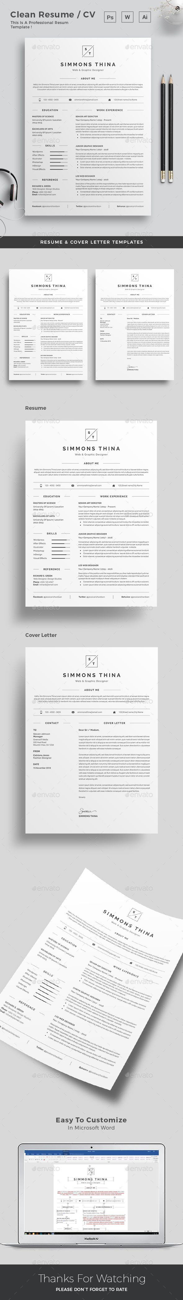 Resume Resume Word Template / CV Template With Super Clean And Modern Look.  Clean Resume  How To Do A Resume For A Job