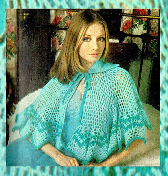 PDF Vintage 1970s Womens Ladies PUSSY BOW  Bed Cape Crochet