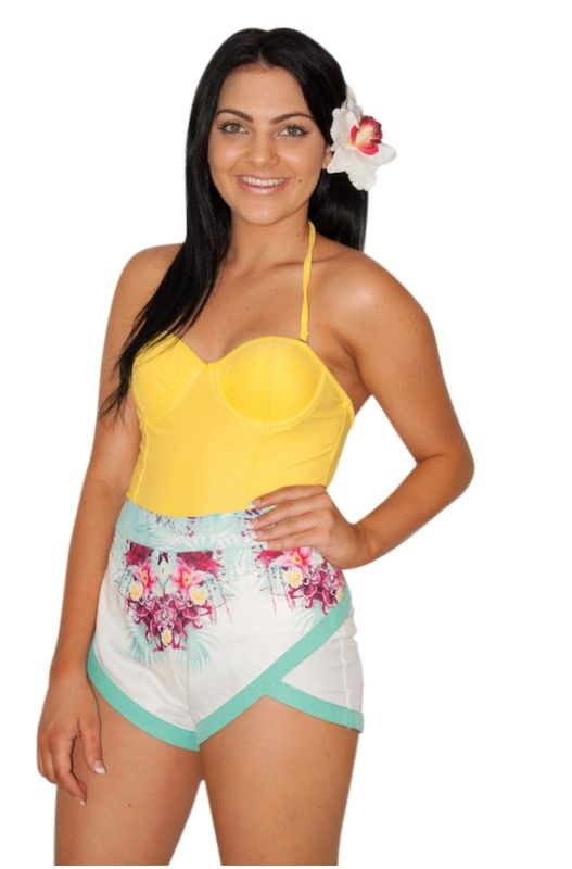 """""""Dreams of Tomorrow"""" Shorts- Amazing floral print shorts! High Waisted or Hipster! Hidden back zip! Shop Only at A$25.00."""