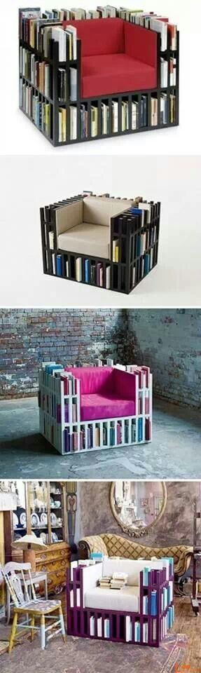 What a creative piece of furniture; to have books right at your fingertips!  My niece would love the purple one.