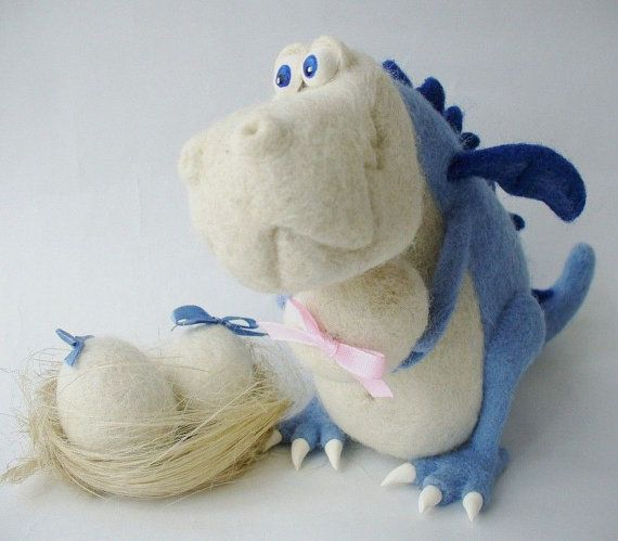Needle Felted Toy - Blue Dragon
